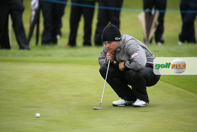 Jack Hume (IRL-AM) crouches for the line of the putt on the 6th during Round One of the 2016 Dubai Duty Free Irish Open Hosted by The Rory Foundation which is played at the K Club Golf Resort, Straffan, Co. Kildare, Ireland. 19/05/2016. Picture Golffile | David Lloyd.<br /> <br /> All photo usage must display a mandatory copyright credit as: &copy; Golffile | David Lloyd.