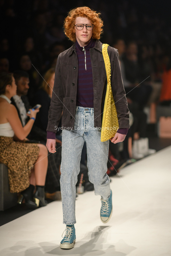 Melbourne, September 7, 2018 - A model wearing clothing from retailer Incu walks at the Town Hall Closing Runway show in Melbourne Fashion Week in Melbourne, Australia. Photo Sydney Low