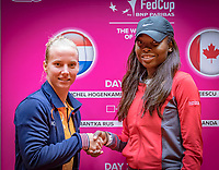 Den Bosch, The Netherlands, Februari 8, 2019,  Maaspoort , FedCup  Netherlands - Canada, Draw, second   match on sunday Richel Hogenkamp NED (L) vs Francoise Abanda (CAN)<br /> Photo: Tennisimages/Henk Koster
