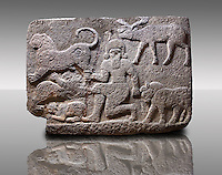 Picture & image of a Neo-Hittite orthostat describing the legend of Gilgamesh from Karkamis,, Turkey. An Ankara Museum of Anatolian Civilizations exhibit.