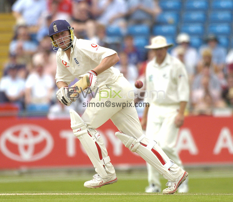 Pix: Ben Duffy/SWpix.com -  International Cricket..NPower 2nd test England v New Zealand.... 06/06/2004. ..COPYRIGHT PICTURE>>SIMON WILKINSON>>01943 608782>>..England's Andrew Flintoff hits another boundary as he knocks up the runs against New Zealand