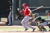 Eric Stamets #74 of the Los Angeles Angels bats during a Minor League Spring Training Game against the Oakland Athletics at the Los Angeles Angels Spring Training Complex on March 17, 2014 in Tempe, Arizona. (Larry Goren/Four Seam Images)