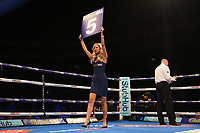Ring card girl shows the round 5 card during a Boxing Show at The O2 on 3rd February 2018