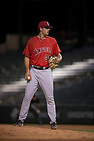 AZL Angels relief pitcher Jacob Voss (35) looks to his catcher for the sign during an Arizona League game against the AZL Diamondbacks at Tempe Diablo Stadium on June 27, 2018 in Tempe, Arizona. The AZL Angels defeated the AZL Diamondbacks 5-3. (Zachary Lucy/Four Seam Images)