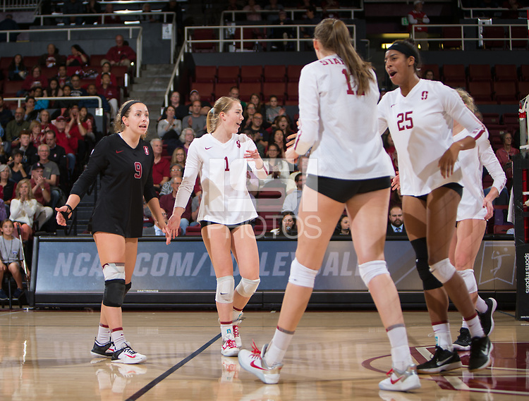 STANFORD, CA - December 1, 2017: Morgan Hentz, Jenna Gray, Merete Lutz, Courtney Bowen at Maples Pavilion. The Stanford Cardinal defeated the CSU Bakersfield Roadrunners 3-0 in the first round of the NCAA tournament.
