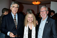 LOS ANGELES - AUG 21:  Elliott Gould, Roslyn Kind, Leonard Maltin at the Barbara Eden Tribute Exhibition Opening Night at the Hollywood Museum on August 21, 2019 in Los Angeles, CA