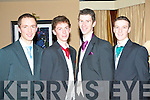 DEBS FUN: Having fun at the St Patrick's and Community Colleges Debs at the Abbeygate Hotel on Friday l-r: Mike Brosnan, Declan Breen, David O'Leary and Philip O'Connor.