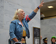 October 6, 2011  (Washington, DC)  Connie Jo was one of several dozen people who converged on the Hart senate office building on October 11, 2011  to protest the United States on-going war efforts.  The demonstration, which led to five arrests, was organized by October 2011 and Veterans For Peace.  (Photo by Don Baxter/Media Images International)