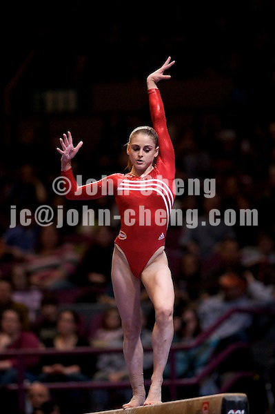 3/1/08 - Photo by John Cheng -  Shayla Worley of the United States performs on the balance beam at the Tyson American Cup in Madison Square GardenPhoto by John Cheng - Tyson American Cup 2008 in Madison Square Garden, New York.Shayla Worley