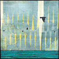 Encaustic photography over map with birds flying over the ocean