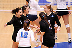 03 DEC 2011:  Cal State San Bernardino celebrates a point against Concordia University St. Paul during the Division II Women's Volleyball Championship held at Coussoulis Arena on the Cal State San Bernardino campus in San Bernardino, Ca. Concordia St. Paul defeated Cal State San Bernardino 3-0 to win the national title. Matt Brown/ NCAA Photos