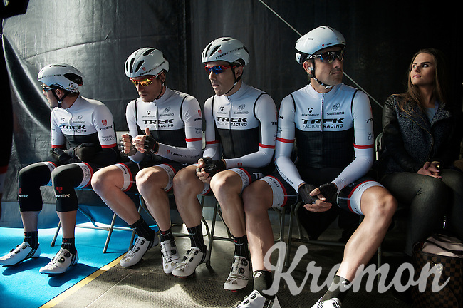 Trek Factory Racing Team waiting to get on stage at the start of the 58th E3 Harelbeke