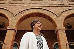 """Carolyn McKinstry, author of """"While the World Watched: A Birmingham Bombing Survivor Comes of Age during the Civil Rights Movement,"""" was in 16th Street Baptist Church in Birmingham, Alabama September 15, 1963, when a bomb killed four girls. She stands on the church steps in downtown Birmingham August 13, 2013."""