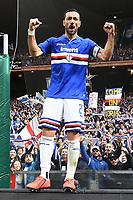 Fabio Quagliarella of Sampdoria celebrates <br /> Genova 14-04-2019 Stadio Luigi Ferraris Football Calcio Serie A 2018/2019 Sampdoria - Genoa <br /> Foto Matteo Gribaudi / Image Sport / Insidefoto