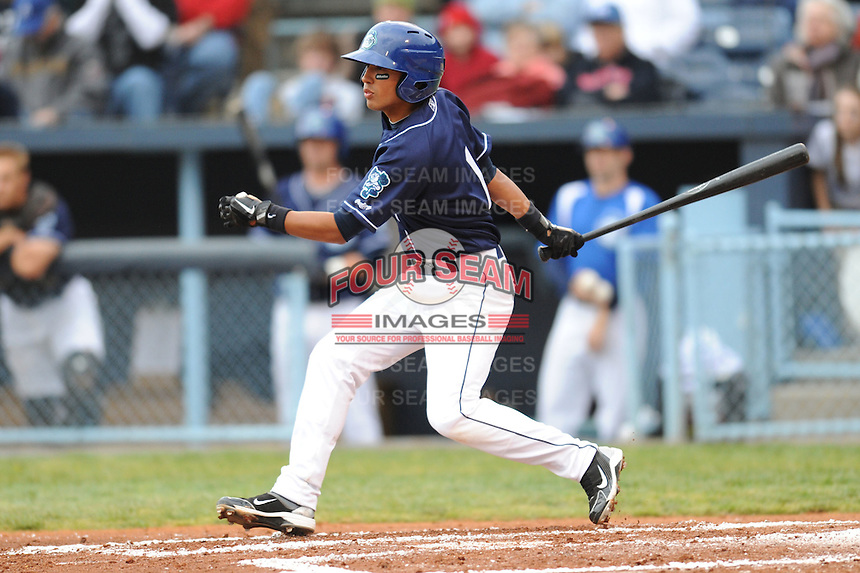 Asheville Tourists Joey Wong #1 swings at a pitch during a game against  the Lexington Legends at McCormick Field in Asheville,  North Carolina;  April 16, 2011. Lexington defeated Aheville 13-7.  Photo By Tony Farlow/Four Seam Images