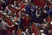 Roma, 31 Gennaio 2015<br /> Camera dei Deputati.<br /> Alla quarta votazione viene eletto Sergio Mattarella a Presidente della Repubblica. <br /> Gli scranni del centro sinistra con Boschi, Bersani,Serracchiani,Speranza, Orfini, Epifani, Guerini in attesa del risultato