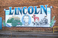 Mural in the Courthouse Square Historic District in Lincoln Illinois on Route 66.