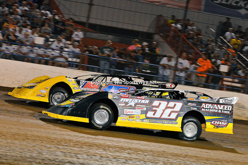 May 25, 2013; 10:13:53 PM; Wheatland, Mo., USA; The  Lucas Oil Late Model Dirt Series running the 21st Annual Lucas Oil Show-Me 100 Presented by ProtectTheHarvest.com.  Mandatory Credit: (thesportswire.net)
