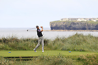 Tiarnan McLarnon (Massereene) on the 4th tee during Matchplay Round 2 of the South of Ireland Amateur Open Championship at LaHinch Golf Club on Friday 22nd July 2016.<br /> Picture:  Golffile | Thos Caffrey<br /> <br /> All photos usage must carry mandatory copyright credit   (© Golffile | Thos Caffrey)