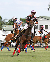 WELLINGTON, FL - APRIL 25:  Facundo Pieres of Orchard Hill (dark blue jersey) scores as Valiente defeats Orchard Hill 13-12, in OT,  in the US Open Polo Championship Final, to win the U. S. Polo Triple Crown, at the International Polo Club Palm Beach, on April 25, 2017 in Wellington, Florida. (Photo by Liz Lamont/Eclipse Sportswire/Getty Images)