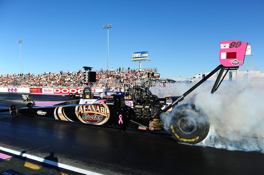 Oct. 30, 2011; Las Vegas, NV, USA: NHRA top fuel dragster driver Del Worsham during the Big O Tires Nationals at The Strip at Las Vegas Motor Speedway. Mandatory Credit: Mark J. Rebilas-