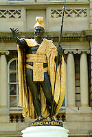 The famous bronze and gold statue of King Kamehameha I on the grounds of Ali'Iolani Hale in downtown Honolulu.