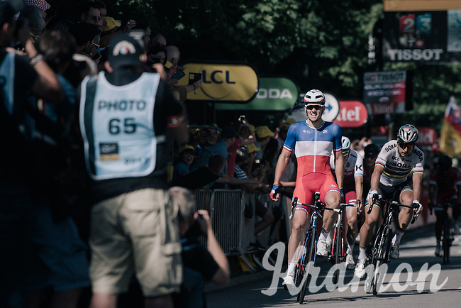 French Champion Arnaud Démare (FRA/FDJ) wins a the tumultuous finale into Vittel with World Champion Peter Sagan (SVK/Bora-Hansgrohe) close behind who would later be thrown out of the TdF because of dangerous/irregular sprinting<br /> <br /> 104th Tour de France 2017<br /> Stage 4 - Mondorf-les-Bains › Vittel (203km)