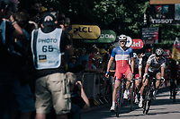 French Champion Arnaud D&eacute;mare (FRA/FDJ) wins a the tumultuous finale into Vittel with World Champion Peter Sagan (SVK/Bora-Hansgrohe) close behind who would later be thrown out of the TdF because of dangerous/irregular sprinting<br /> <br /> 104th Tour de France 2017<br /> Stage 4 - Mondorf-les-Bains &rsaquo; Vittel (203km)