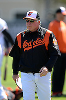 Baltimore Orioles manager Buck Showalter (26) before a spring training game against the Boston Red Sox on March 8, 2014 at Ed Smith Stadium in Sarasota, Florida.  Baltimore defeated Boston 7-3.  (Mike Janes/Four Seam Images)