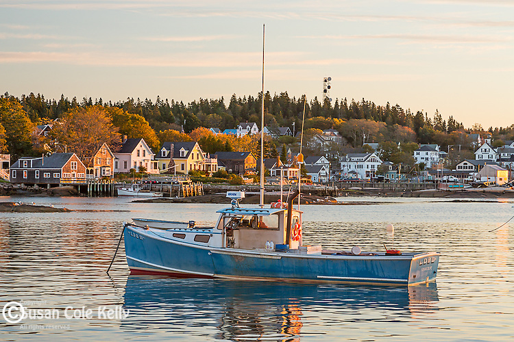 Sunrise on the harbor in Stonington, Maine, USA