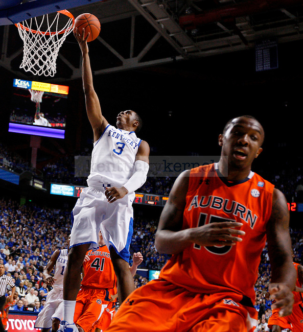 Terrence Jones lays in a basket in the first half of UK's win over the Auburn Tigers at Rupp Arena on Jan. 11, 2011. Photo by Britney McIntosh | Staff