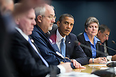 United States President Barack Obama listens to U.S. Secretary of Transportation Ray LaHood speak during a briefing on the response to Hurricane Sandy at FEMA headquarters in Washington, D.C., Wednesday, October 31, 2012. Pictured, from left, are Secretary LaHood; U.S. Secretary of Energy Steven Chu; John Brennan, Assistant to the President for Homeland Security and Counterterrorism; FEMA Administrator Craig Fugate; U.S. Secretary of Homeland Security Janet Napolitano; and U.S. Secretary of Defense Leon Panetta. .Mandatory Credit: Pete Souza - White House via CNP