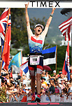 KONA, HAWAII - OCTOBER 14:  Lucy Charles of Great Britain celebrates her 2nd place during the 2017 IRONMAN World Championships on October 12, 2017 in Kona, Hawaii. (Photo by Donald Miralle for IRONMAN)