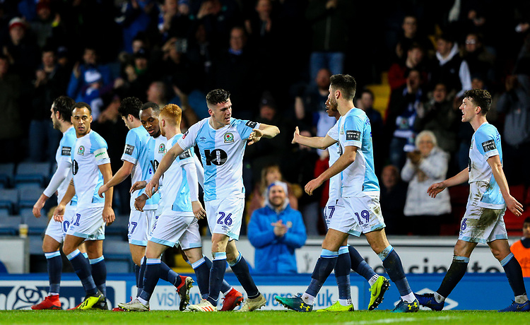 Blackburn Rovers' Darragh Lenihan celebrates scoring his side's second goal with teammate Ben Brereton<br /> <br /> Photographer Alex Dodd/CameraSport<br /> <br /> Emirates FA Cup Third Round Replay - Blackburn Rovers v Newcastle United - Tuesday 15th January 2019 - Ewood Park - Blackburn<br />  <br /> World Copyright &copy; 2019 CameraSport. All rights reserved. 43 Linden Ave. Countesthorpe. Leicester. England. LE8 5PG - Tel: +44 (0) 116 277 4147 - admin@camerasport.com - www.camerasport.com