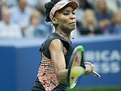7th September 2017, Flushing Meadows, New York, USA;   Venus Williams (USA) in action during her women's singles semi-final of the US Open on September 07, 2017 at the Billie Jean King National Tennis Center in Flushing Meadow, NY.