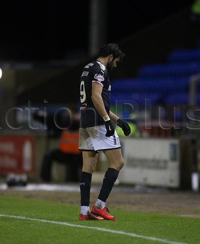 30th January 2018, Tulloch Caledonian Stadium, Inverness, Scotland; Scottish Cup 4th round replay, Inverness Caledonian Thistle versus Dundee; Dundee's Sofien Moussa goes off with a injury