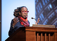 "The 2019 Occidental College Phi Beta Kappa speaker Kimberlé Crenshaw, a law professor, civil rights advocate and intersectional theorist, gave her lecture, ""Thirty Years of Theorizing Justice: Intersectionality, Critical Race Theory and Contemporary Issues"" on April 5, 2019 in Thorne Hall.<br /> Underwritten by the Ruenitz Trust Fund Endowment in honor of Dr. and Mrs. Robert C. Ruenitz.<br /> Kimberlé Williams Crenshaw is an American civil rights advocate and a leading scholar of critical race theory. She is a full­time professor at the UCLA School of Law and Columbia Law School, where she specializes in race and gender issues. Her work on race and gender was influential in the drafting of the equality clause in the South African Constitution. In 2001, she was instrumental in facilitating the inclusion of gender in the declaration of the United Nations' World Conference on Racism. In the domestic arena, she has served as a member of the National Science Foundation's committee to research violence against women, and has assisted the legal team representing Anita Hill.<br /> (Photo by Marc Campos, Occidental College Photographer)"
