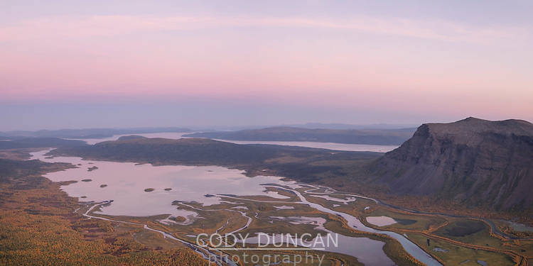 Panoramic view over Rapadalen from summit of Skierfe, Sarek National Park, Lapland, Sweden