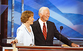 Boston, MA - July 26, 2004 -- Former first lady Roslyn Carter, right, and her husband, former United States President Jimmy Carter, right, appear on the podium during the first night of the 2004 Democratic National Convention on Monday, July 26, 2004 in Boston, Massachusetts. .Credit: Ron Sachs / CNP
