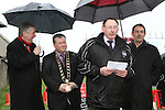Mick Toner, Chairman of Drogheda Town Football Club speaks at the Turning of the First Sod for the New Clubhouse for Drogheda Town Football Club at Marion Park...(Photo credit should read Jenny Matthews/NEWSFILE)...