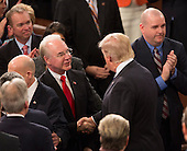 United States President Donald J. Trump speaks with Health and Human Service Secretary Tom Price before addressing a joint session of Congress on Capitol Hill in Washington, DC, February 28, 2017.<br /> Credit: Chris Kleponis / CNP