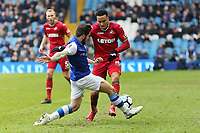 (L-R) Jacob Butterfield of Sheffield Wednesday challenges  Martin Olsson of Swansea City during The Emirates FA Cup Fifth Round match between Sheffield Wednesday and Swansea City at Hillsborough, Sheffield, England, UK. Saturday 17 February 2018