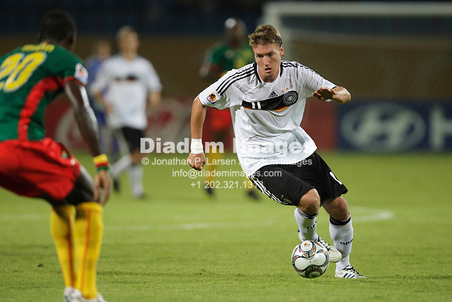 ISMAILIA, EGYPT - OCTOBER 2:  Manuel Schaeffler of Germany drives the ball during a FIFA U-20 World Cup Group C match against Cameroon October 2, 2009 at Ismailia Stadium in Ismailia, Egypt.  (Photograph by Jonathan P. Larsen)