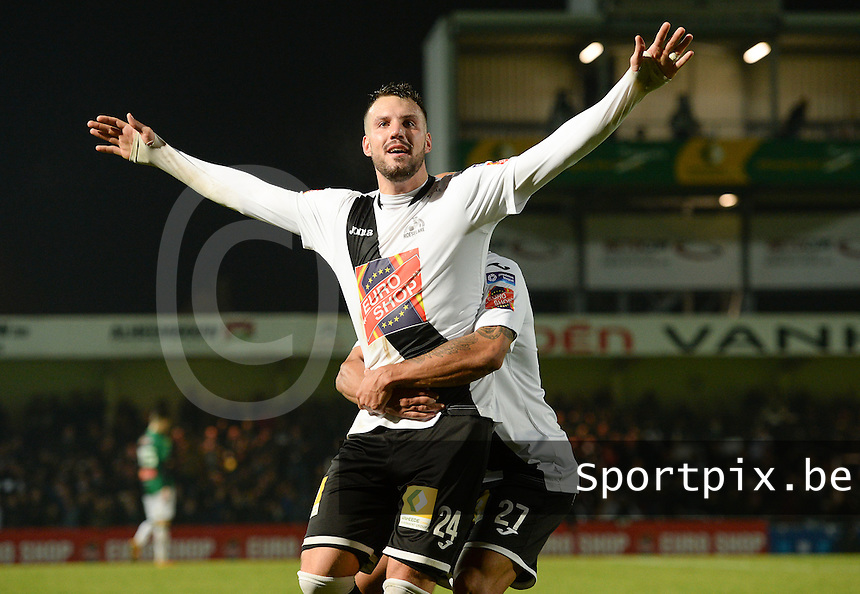 20161217 - ROESELARE , BELGIUM : Roeselare's Mathieu Cornet pictured celebrating his goal and the 3-1 lead for Roeselare  during the Proximus League match of D1B between Roeselare and Cercle Brugge, in Roeselare, on Saturday 17 December 2016, on the day 20 of the Belgian soccer championship, division 1B. . SPORTPIX.BE | DAVID CATRY