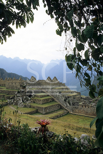Machu Picchu, Peru. Part of the site with terraces and a long stone staircase.