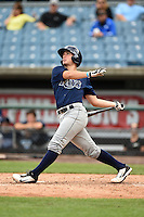 Nick Fortes (4) of DeLand High School in DeLand, Florida playing for the Tampa Bay Rays scout team during the East Coast Pro Showcase on July 31, 2014 at NBT Bank Stadium in Syracuse, New York.  (Mike Janes/Four Seam Images)