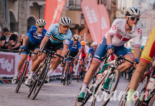 Greg Van Avermaet (BEL/BMC) cheered on downtown Innsbruck<br /> <br /> MEN ELITE ROAD RACE<br /> Kufstein to Innsbruck: 258.5 km<br /> <br /> UCI 2018 Road World Championships<br /> Innsbruck - Tirol / Austria