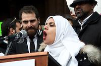 Runa Ahdelhamid of CAIR at 33Rally Anti Trump Muslim Ban and immigration restrictions at Copley Plaza Boston ,MA 1.29.17