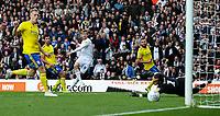 Leeds United's Patrick Bamford shoots just wide<br /> <br /> Photographer Alex Dodd/CameraSport<br /> <br /> The EFL Sky Bet Championship - Leeds United v Birmingham City - Saturday 19th October 2019 - Elland Road - Leeds<br /> <br /> World Copyright © 2019 CameraSport. All rights reserved. 43 Linden Ave. Countesthorpe. Leicester. England. LE8 5PG - Tel: +44 (0) 116 277 4147 - admin@camerasport.com - www.camerasport.com