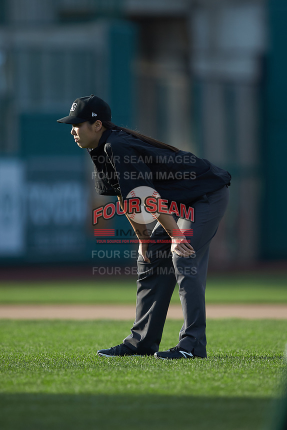 Umpire Emma Charlesworth-Seiler works the Midwest League game between the Bowling Green Hot Rods and the Fort Wayne TinCaps at Parkview Field on August 20, 2019 in Fort Wayne, Indiana. The Hot Rods defeated the TinCaps 6-5. (Brian Westerholt/Four Seam Images)